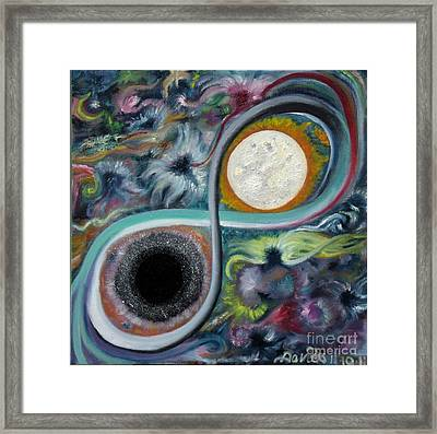 Star Goddess And Child Maintaing The Balance Of The Universal Energy Flow Framed Print by Trac Davies