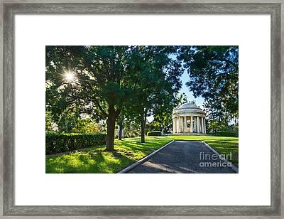 Star Over The Mausoleum - Henry And Arabella Huntington Overlooks The Gardens. Framed Print by Jamie Pham