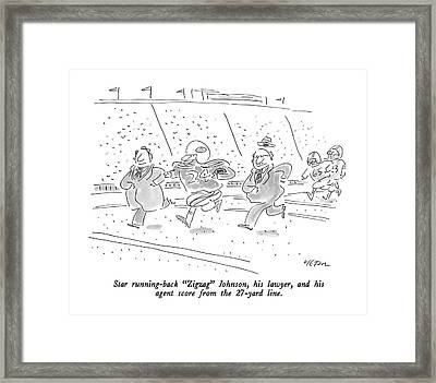 Star Running-back Zigzag Johnson Framed Print by Dean Vietor