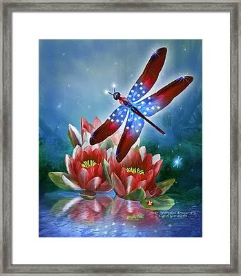 Star Spangled Dragonfly Framed Print by Carol Cavalaris