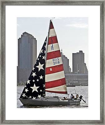 Framed Print featuring the photograph Star Spangled Sail  by Lilliana Mendez