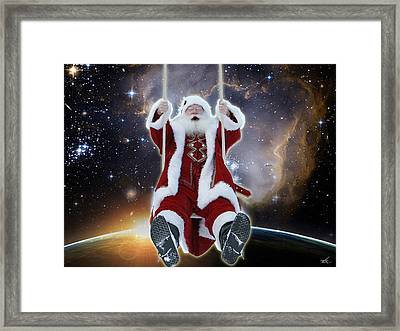 Santa's Star Swing Framed Print