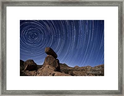 Star Trails Above A Granite Rock Framed Print