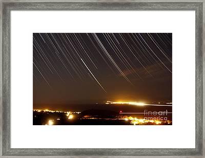 Star Trails Above A Village Framed Print by Amin Jamshidi