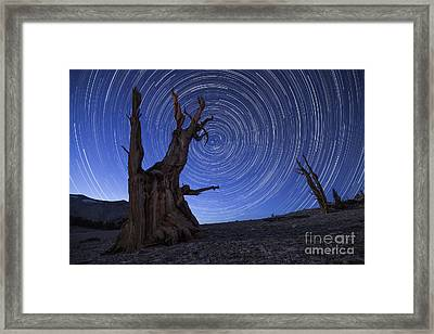 Star Trails Above An Ancient Framed Print