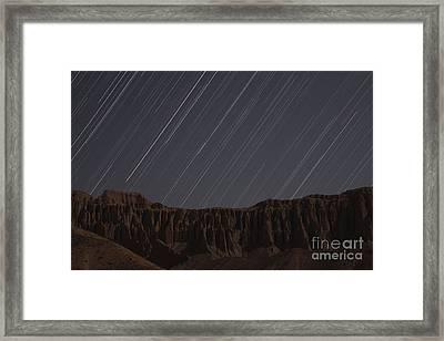 Star Trails Above Martians Valley Framed Print by Amin Jamshidi