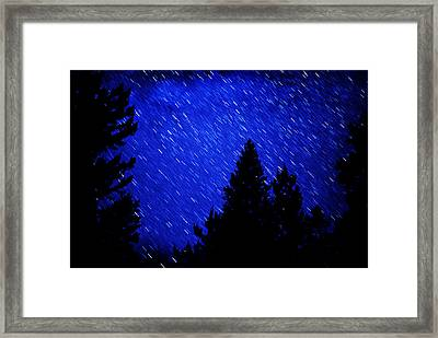 Star Trails In Night Sky Framed Print by Lane Erickson