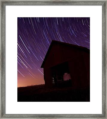 Star Trails On The Farm Framed Print by Dan Sproul