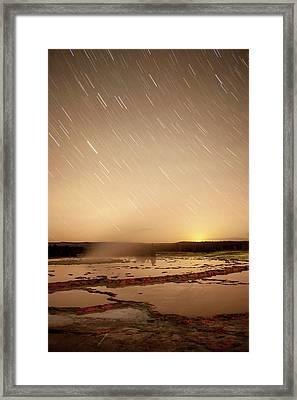 Star Trails Over Active Geyser Framed Print by Tom Norring