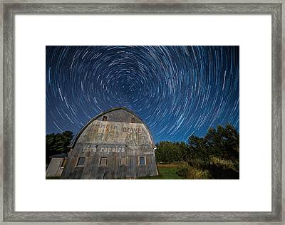 Star Trails Over Barn Framed Print