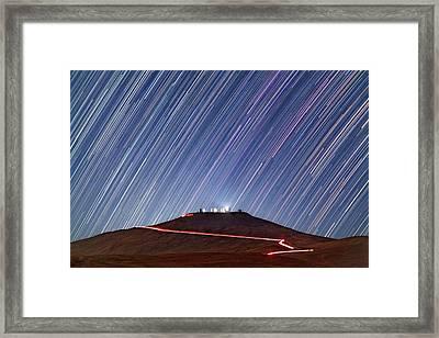 Star Trails Over Cerro Paranal Telescopes Framed Print by Juan Carlos Casado (starryearth.com)