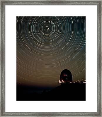 Star Trails Over Dome Of Nordic Optical Telescope Framed Print by David Parker/science Photo Library