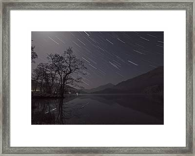Star Trails Over Lake Framed Print