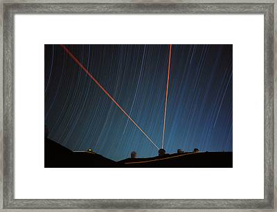 Star Trails Over Mauna Kea Observatory Framed Print