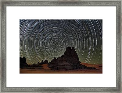 Star Trails Over Saharan Rock Formations Framed Print by Martin Rietze