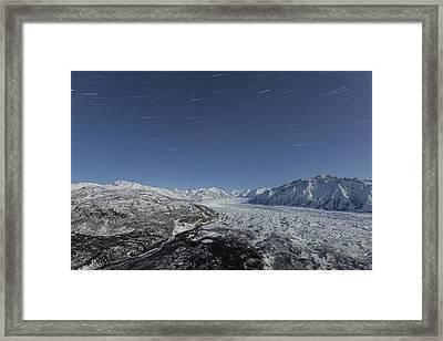 Star Trails Over The Matanuska Glacier Framed Print