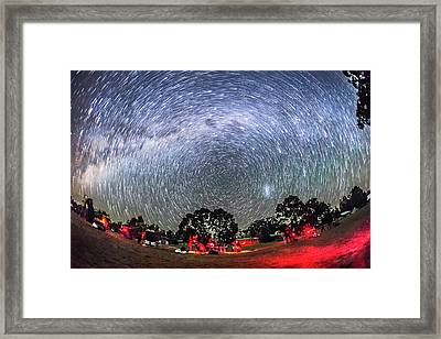 Star Trails Over The Ozsky Star Party Framed Print by Alan Dyer