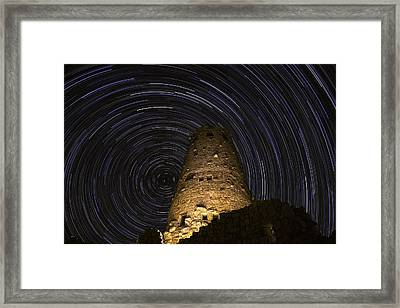 Star Trails Over The Watchtower Framed Print by Jason Hatfield