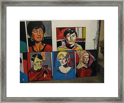 Star Trek Paintings - Uhura Sulu Scotty Chapel Rand Framed Print