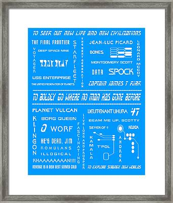 Star Trek Remembered In Blue Framed Print by Georgia Fowler