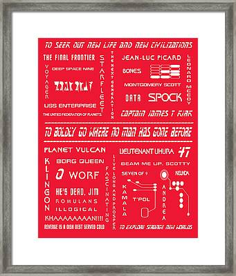 Star Trek Remembered In Red Framed Print by Georgia Fowler