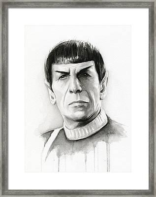 Star Trek Spock Portrait Framed Print by Olga Shvartsur