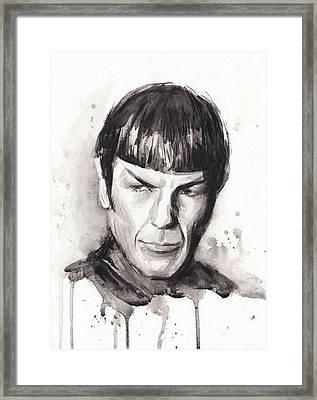 Star Trek Spock Portrait Sci-fi Art Framed Print by Olga Shvartsur