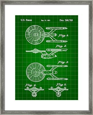Star Trek Uss Enterprise Toy Patent 1981 - Green Framed Print by Stephen Younts