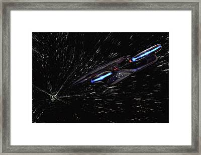 Star Trek - Wormhole Effect - Uss Enterprise D Framed Print by Jason Politte