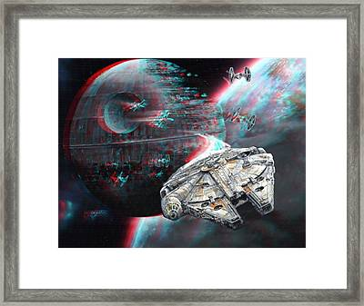 Star Wars 3d Millennium Falcon Framed Print by Paul Van Scott