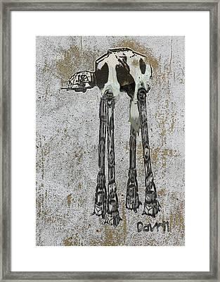 Star Wars At-at Cow Graffiti Framed Print