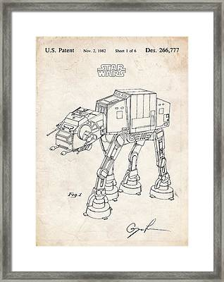 Star Wars At-at Imperial Walker Patent Art Framed Print by Stephen Chambers