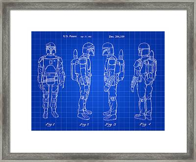 Star Wars Boba Fett Patent 1982 - Blue Framed Print by Stephen Younts