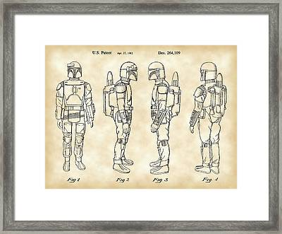 Star Wars Boba Fett Patent 1982 - Parchment Framed Print by Stephen Younts