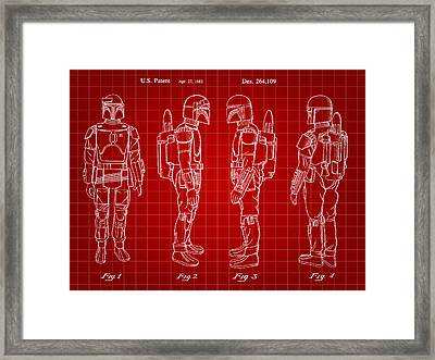 Star Wars Boba Fett Patent 1982 - Red Framed Print by Stephen Younts
