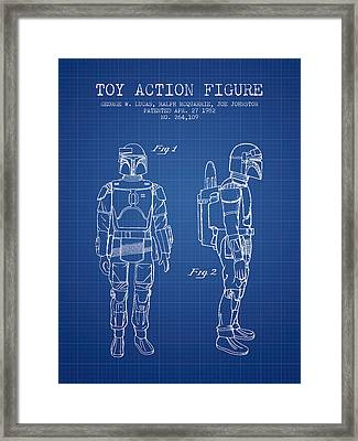 Star Wars Boba Fett Patent From 1982 - Blueprint Framed Print by Aged Pixel