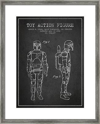 Star Wars Boba Fett Patent From 1982 - Charcoal Framed Print