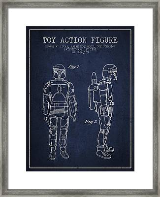 Star Wars Boba Fett Patent From 1982 - Navy Blue Framed Print by Aged Pixel