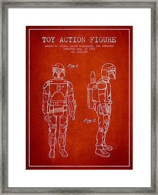 Star Wars Boba Fett Patent From 1982 - Red Framed Print