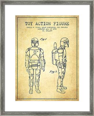 Star Wars Boba Fett Patent From 1982 - Vintage Framed Print by Aged Pixel