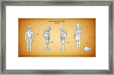 Star Wars - Boba Fett Patent Framed Print by Mark Rogan
