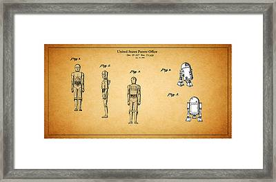 Star Wars - C3po And R2d2 Patent Framed Print by Mark Rogan