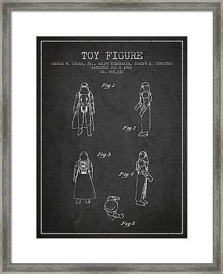 Star Wars Darth Vader Patent From 1982 - Charcoal Framed Print by Aged Pixel