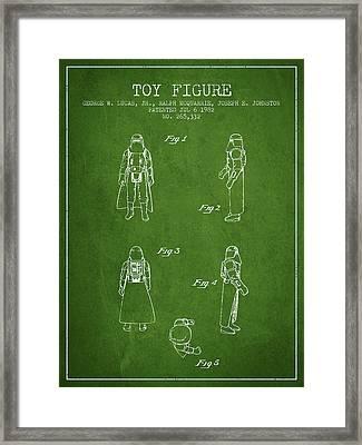 Star Wars Darth Vader Patent From 1982 - Green Framed Print