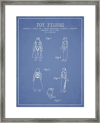 Star Wars Darth Vader Patent From 1982 - Light Blue Framed Print