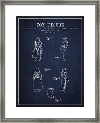 Star Wars Darth Vader Patent From 1982 - Navy Blue Framed Print