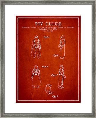 Star Wars Darth Vader Patent From 1982 - Red Framed Print by Aged Pixel