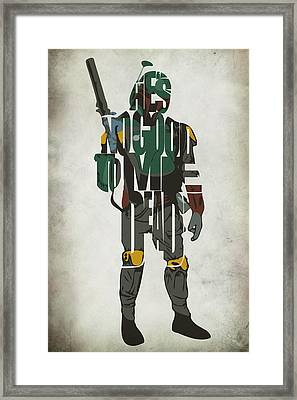 Star Wars Inspired Boba Fett Typography Artwork Framed Print by Ayse Deniz