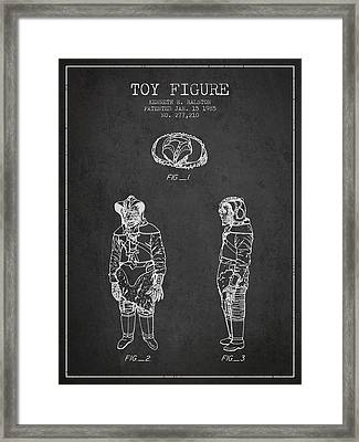 Star Wars Toy Figure No3 Patent Drawing From 1985 - Charcoal Framed Print by Aged Pixel
