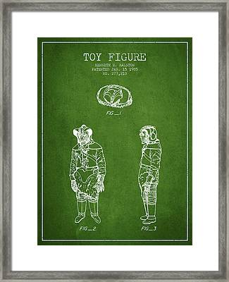 Star Wars Toy Figure No3 Patent Drawing From 1985 - Green Framed Print by Aged Pixel